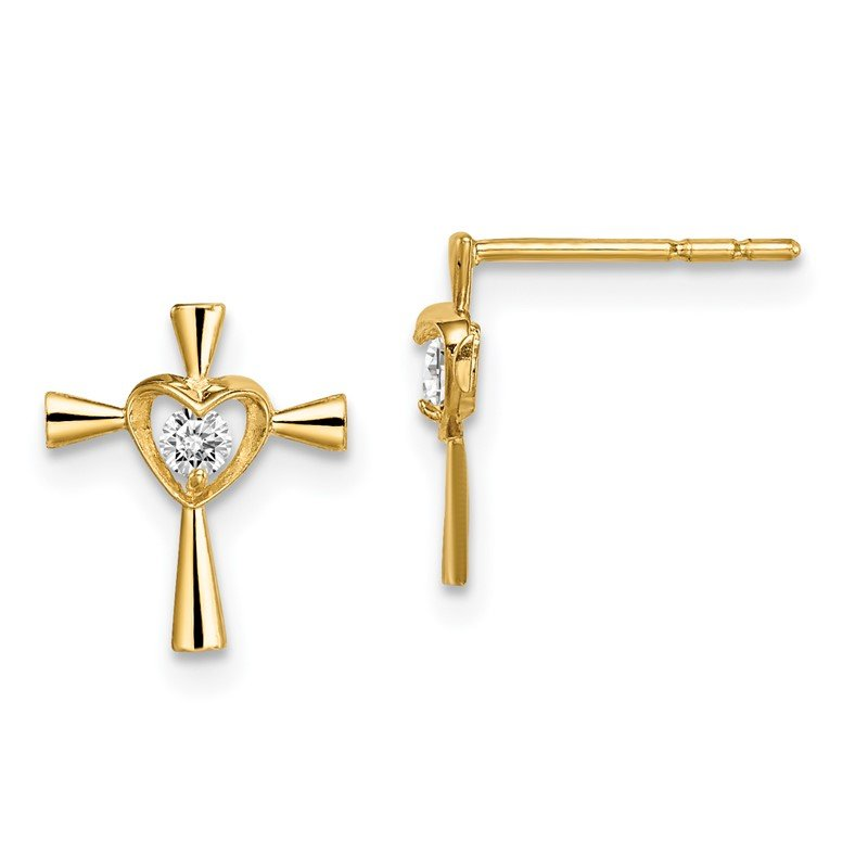 Quality Gold 14k Madi K CZ Cross with Heart Post Earrings