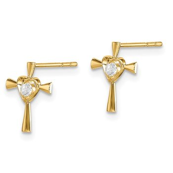 14k Madi K CZ Cross with Heart Post Earrings