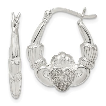 Sterling Silver Laser Cut Claddagh Hoop Earrings