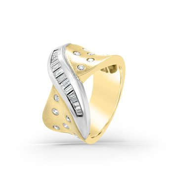 Yellow Gold Two Tone Diamond Wide Heavy Fashion Band