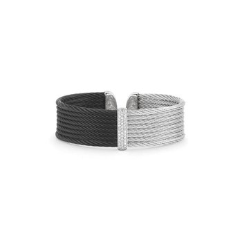 Black & Grey Cable Medium Colorblock Cuff with 18kt White Gold & Diamonds