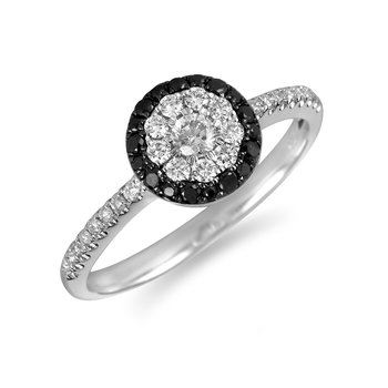 14K White and Black Diamond Cluster Ring