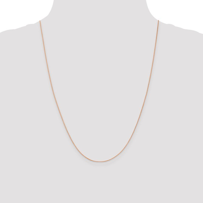 Leslie's Leslie's 14K Rose Gold .5mm Baby Box with Lobster Clasp Chain
