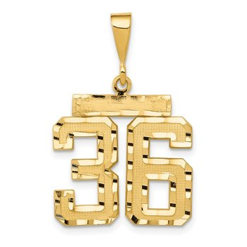 14k Medium Diamond-cut Number 36 Charm