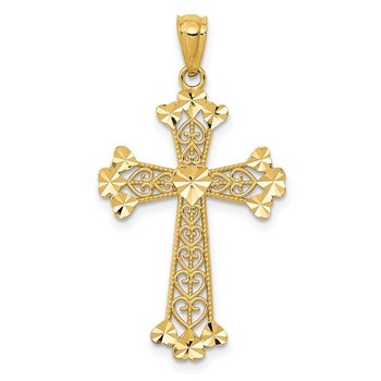 14k Diamond-cut Polished Filigree Hearts Cross Pendant