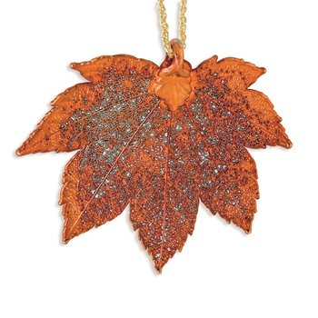 Iridescent Copper Dipped Full Moon Maple Leaf w/ 20in Gold-tone Necklace