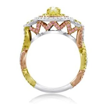 Tri-Color Oval Diamond Ring