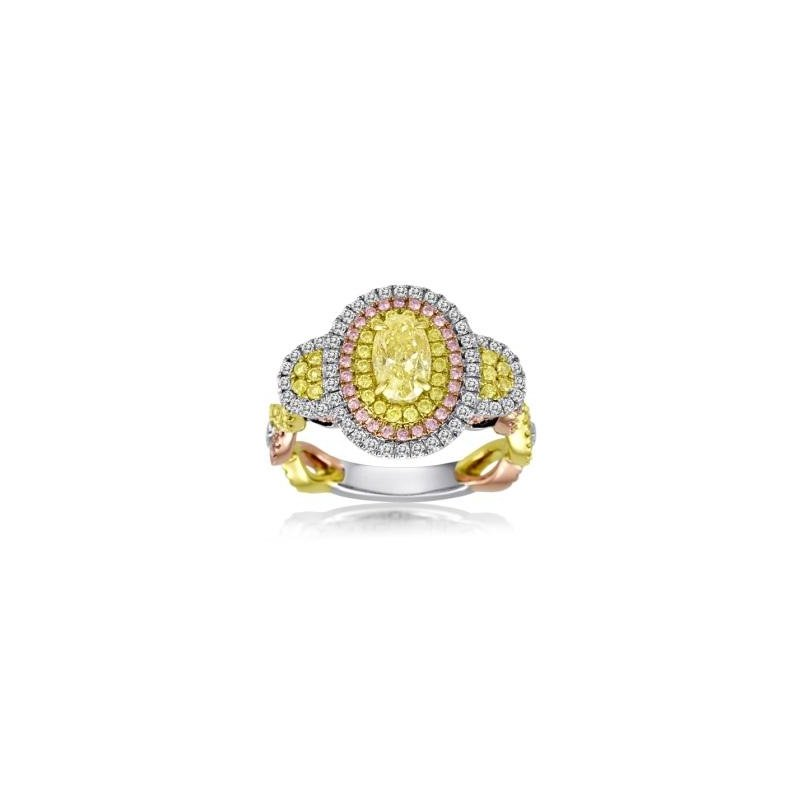 Roman & Jules Tri-Color Oval Diamond Ring