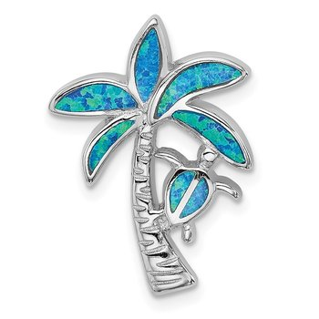 Sterling Silver Rhodium-plated Blue Inlay Created Opal Palm Tree Slide