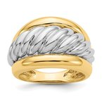 Quality Gold 14k Two-tone Polished Twisted Dome Ring