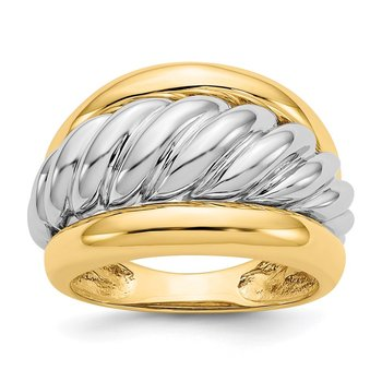 14k Two-tone Polished Twisted Dome Ring