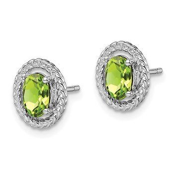 Sterling Silver Rhod-plat Peridot Oval Post Earrings