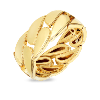 18Kt Gold Wide Gourmette Bangle