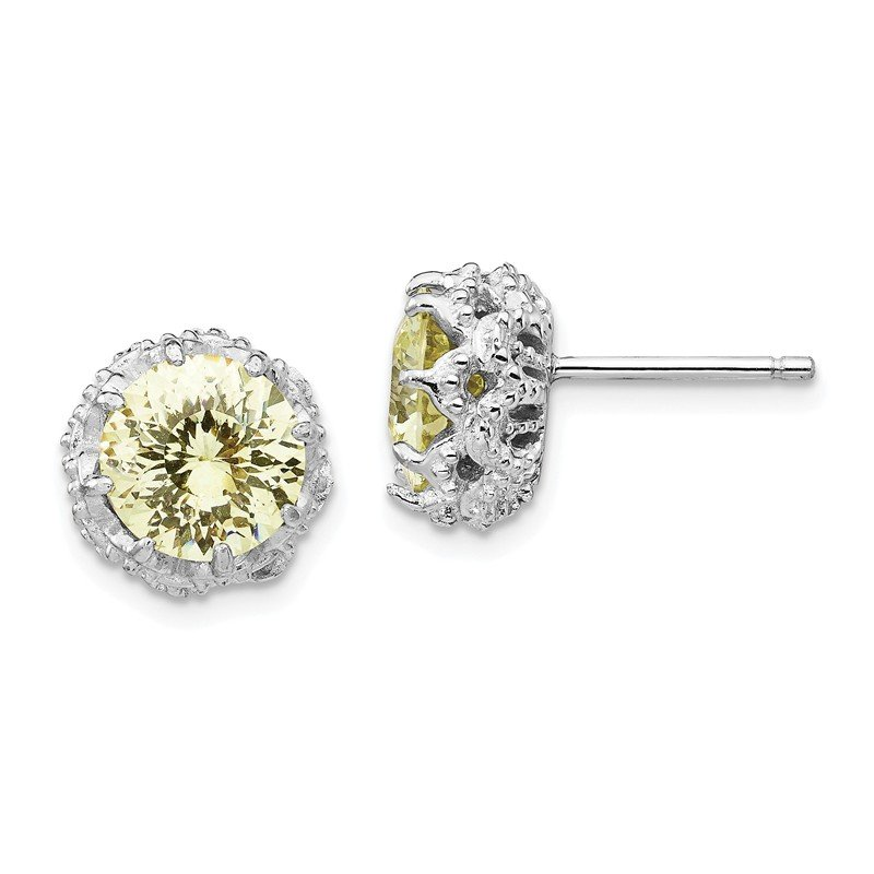 Cheryl M Cheryl M Sterling Silver Round Brialliant-cut Yellow CZ Post Earrings