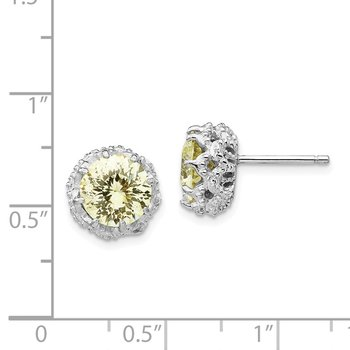 Cheryl M Sterling Silver Rhodium-plated Round Yellow CZ Post Earrings