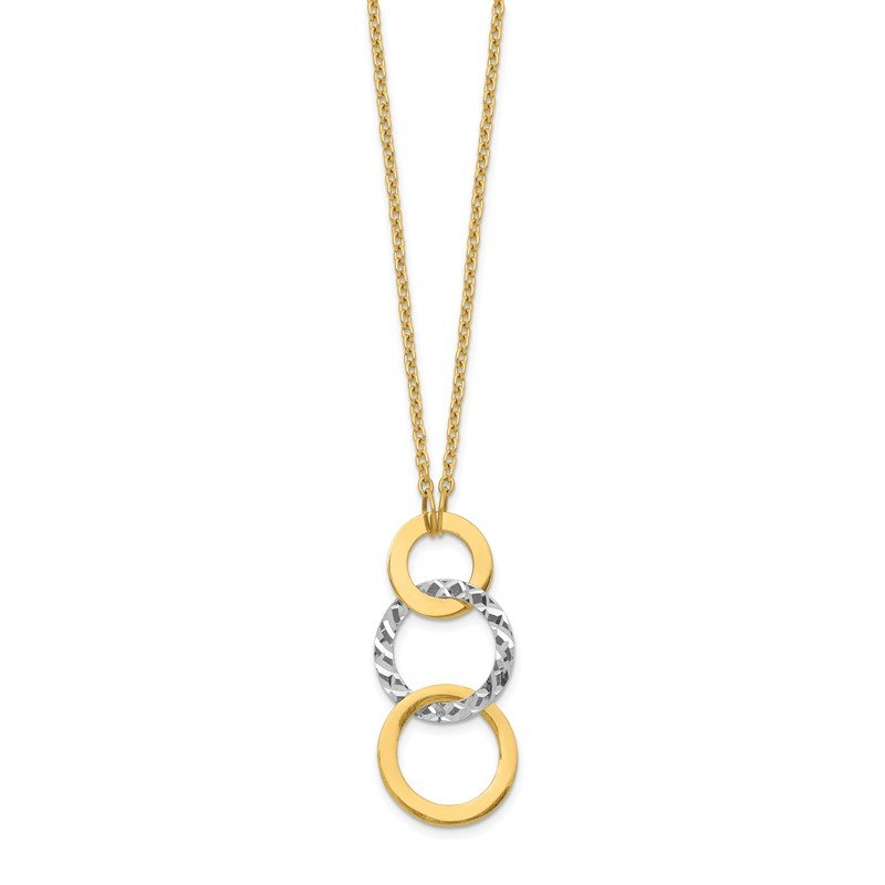 Quality Gold 14k Two-tone Polished & Textured 3-Circle Necklace