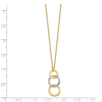 14k Two-tone Polished & Textured 3-Circle Necklace