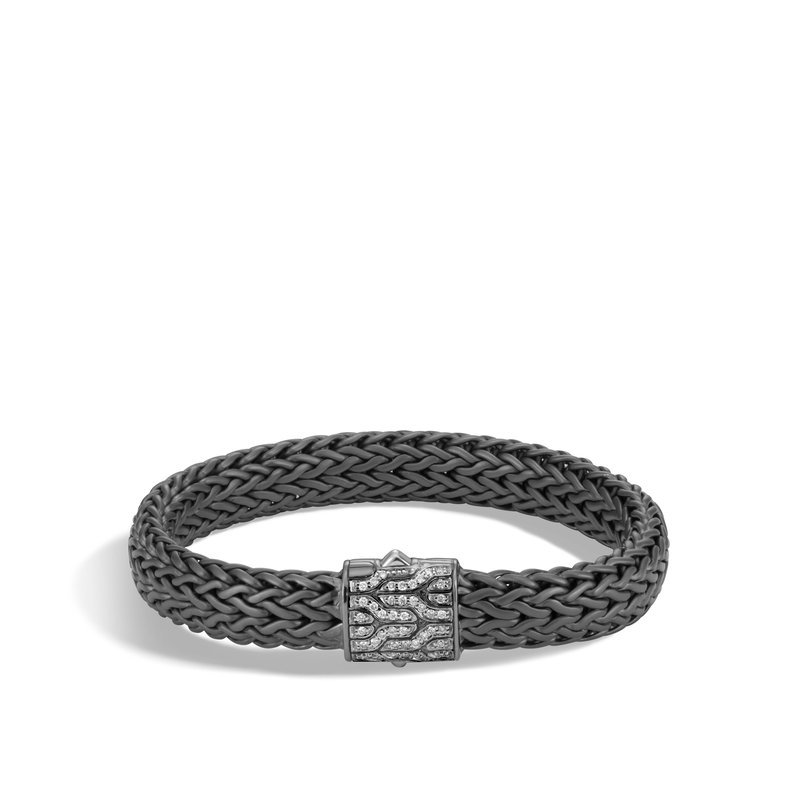 JOHN HARDY Classic Chain 11MM Bracelet in Blackened Silver, Diamonds