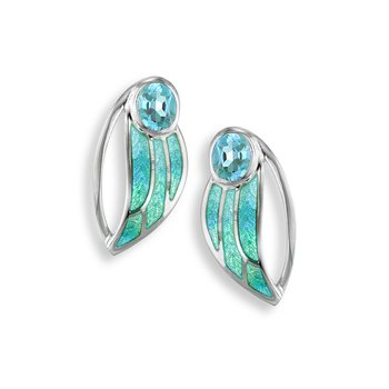Blue Contoured Leaf Stud Earrings.Sterling Silver-Blue Topaz