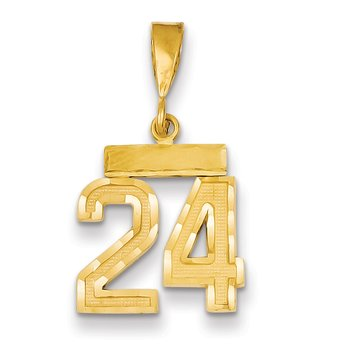 14k Small Diamond-cut Number 24 Charm