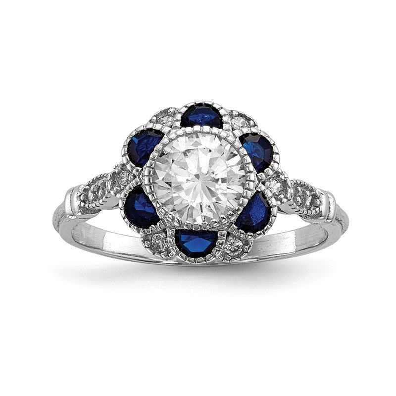 Quality Gold Sterling Silver Rhodium-plated CZ & Synthetic Blue Sapphire Flower Ring