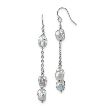 Sterling Silver Rhodium-plated 8-9mm Grey Baroque FWC Pearl Earrings