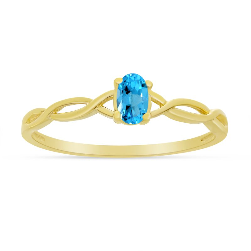 Color Merchants 10k Yellow Gold Oval Blue Topaz Ring