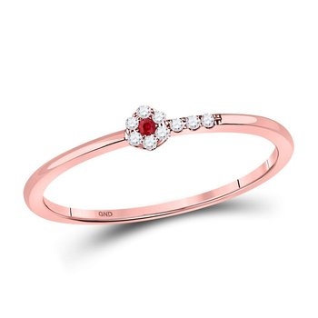 10kt Rose Gold Womens Round Ruby Diamond Stackable Band Ring 1/20 Cttw