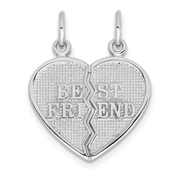 14k White Gold BEST FRIEND Break-apart Charm