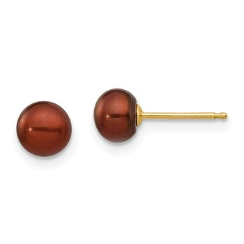 14k 5-6mm Coffee Button Freshwater Cultured Pearl Stud Post Earrings