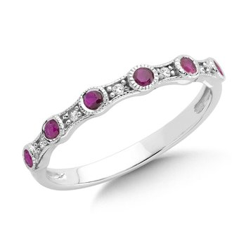 Pave and Bezel set Ruby and Diamond Stackable Ring in 14k White Gold