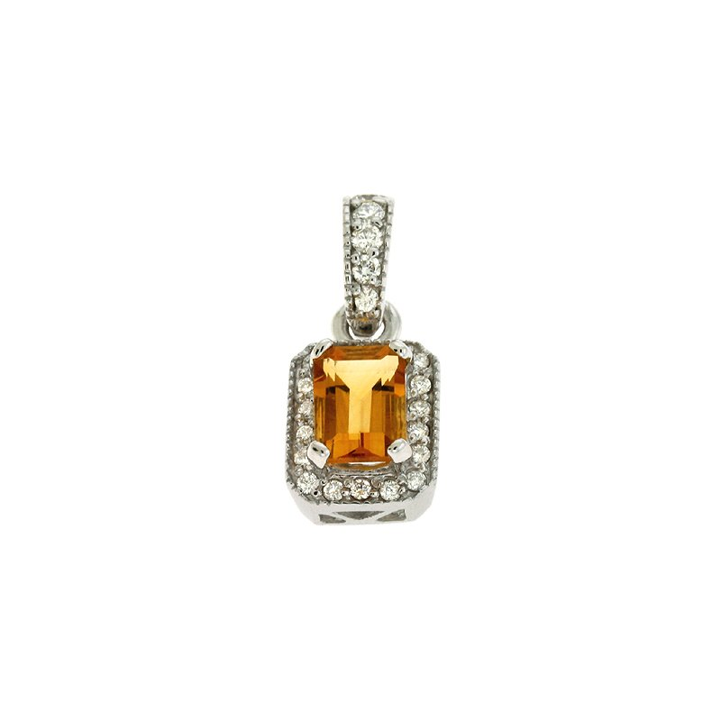 S. Kashi  & Sons Citrine & Diamond Pendant