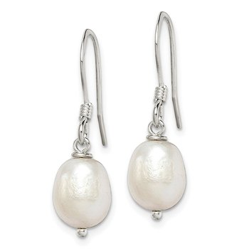 Sterling Silver White Cultured FW Pearl Dangle Earrings