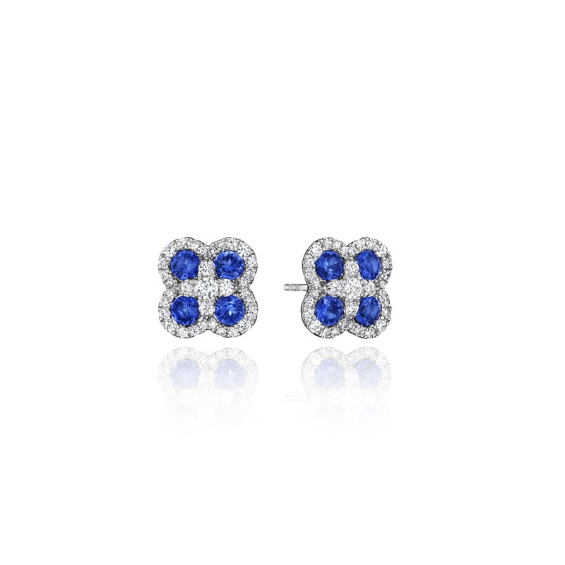 Fana Endless Bliss Sapphire and Diamond Cluster Studs