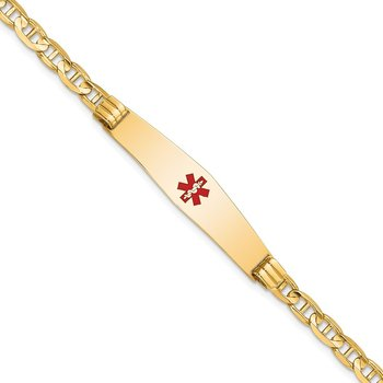 14K Medical Soft Diamond Shape Red Enamel Anchor Link ID Bracelet