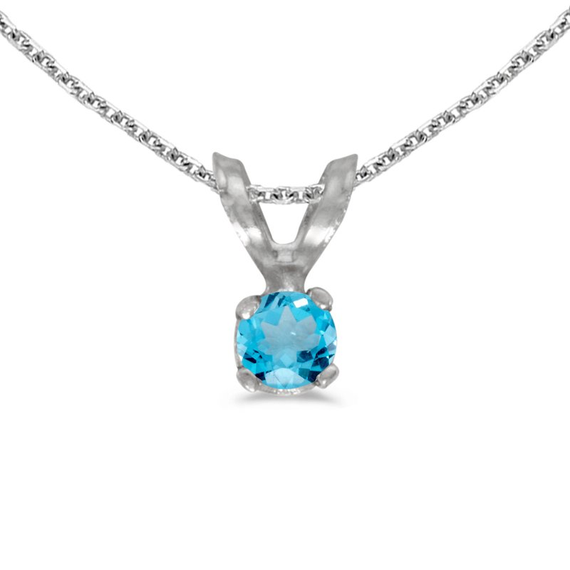 Color Merchants 14k White Gold Round Blue Topaz Pendant
