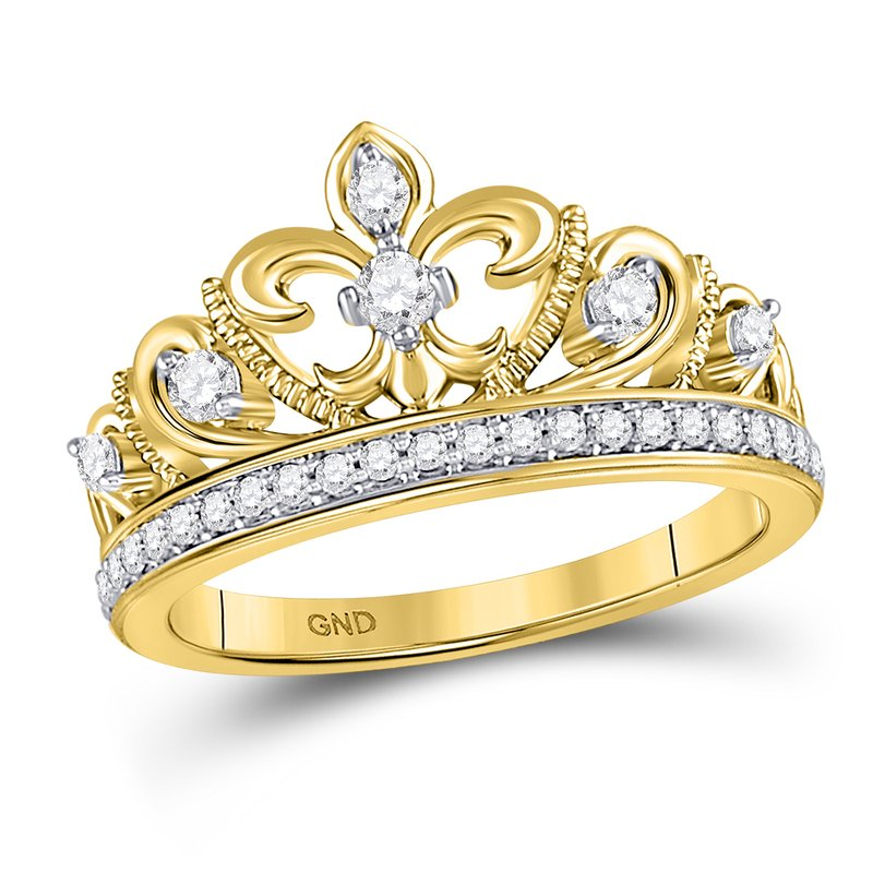 Gold-N-Diamonds 10kt Yellow Gold Womens Round Diamond Fleur-de-lis Crown Ring 1/3 Cttw