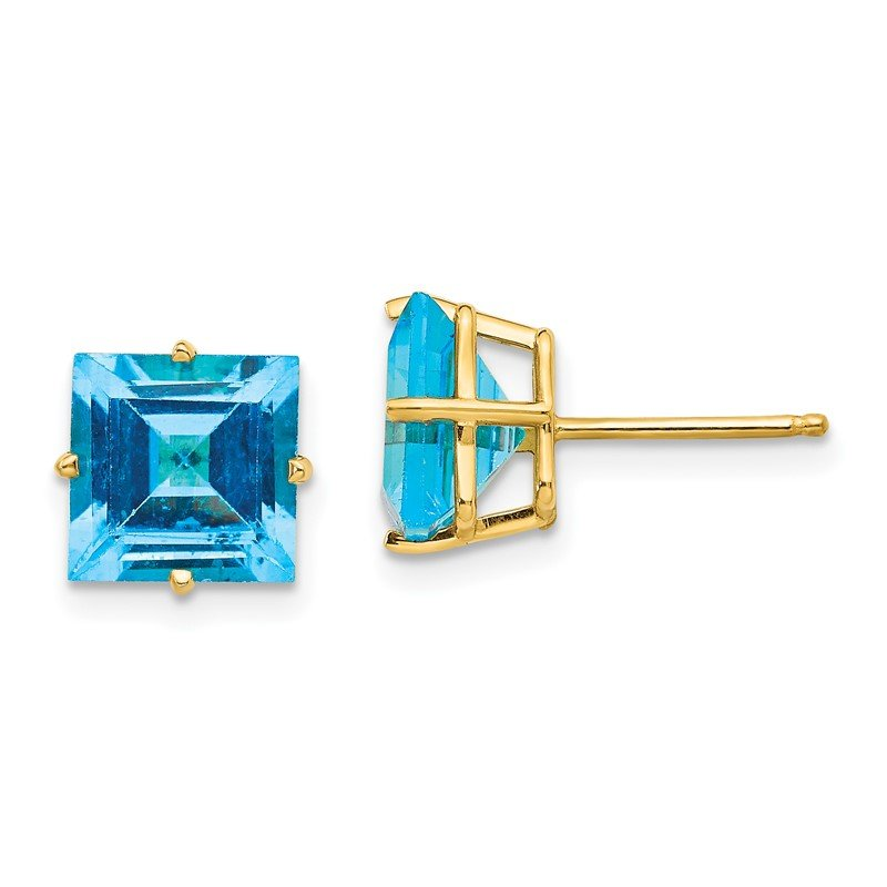 Quality Gold 14k 8mm Square Step Cut Blue Topaz Earrings