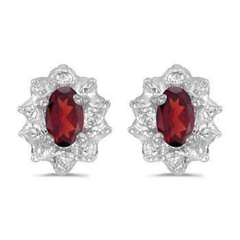 10k White Gold 5x3 mm Genuine Garnet And Diamond Earrings