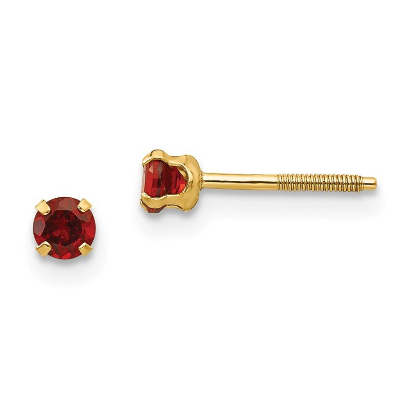 Quality Gold 14k Madi K 3mm Garnet Earrings