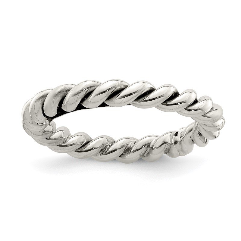 Quality Gold Sterling Silver Polished Twisted 3mm Women's Ring