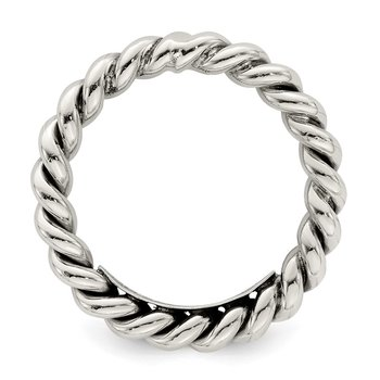 Sterling Silver Polished Twisted 3mm Women's Ring