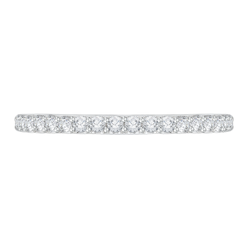 14K White Gold Round Diamond Half-Eternity Wedding Band with Euro Shank