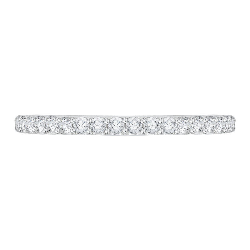 Carizza 14K White Gold Round Diamond Half-Eternity Wedding Band with Euro Shank