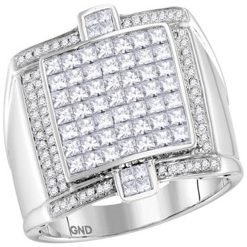 14kt White Gold Mens Princess Diamond Square Luxury Cluster Ring 2.00 Cttw