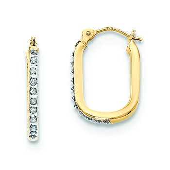 14k Diamond Fascination U-shaped Hoop Earrings