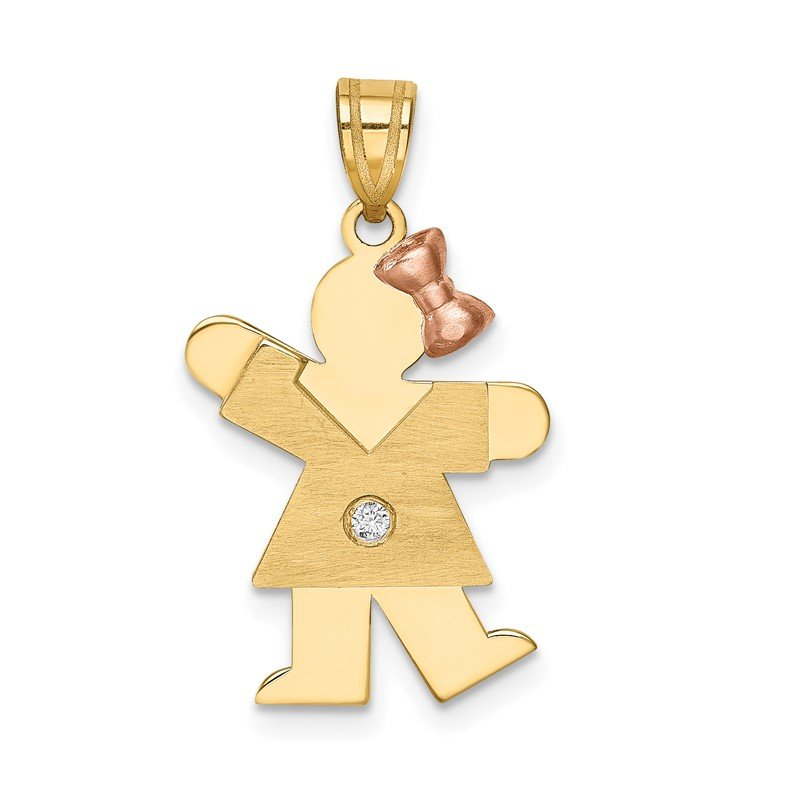 Quality Gold 14k Two-tone AA Diamond Kid Pendant