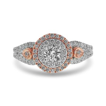 14K WR and diamond Round Double Halo Engagement Ring in Prong Setting and in Split Shank Design