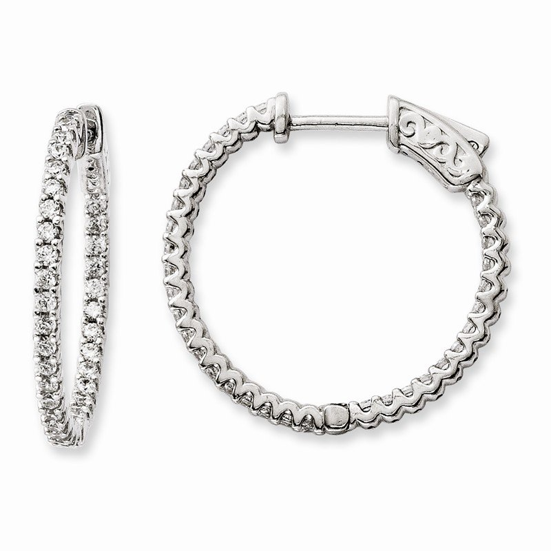 Quality Gold Sterling Silver Rhodium-plated CZ 66 Stone In and Out Hoop Earrings