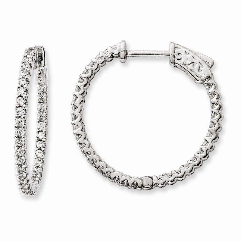 925 Sterling Silver Rhodium-plated CZ Hinged Hoop Dangle Snowflake Earrings by 925 Sterling Shimmer